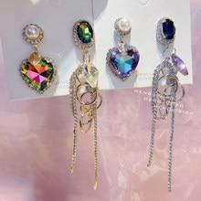 MENGJIQIAO koreański luksusowe asymetryczne serce kryształowe kolczyki dla kobiet strasy dla dziewczynek Tassel Boucle D'oreille Party biżuteria