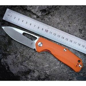 Image 1 - Kizer Survival Knives Camping Outdoor Knife Drop Point Blade, Orange G10 Handle V4461N2 Kesmec