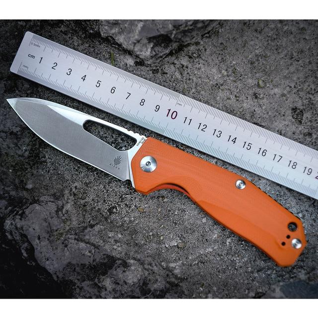 Kizer Survival Knives Camping Outdoor Knife Drop Point Blade, Orange G10 Handle V4461N2 Kesmec