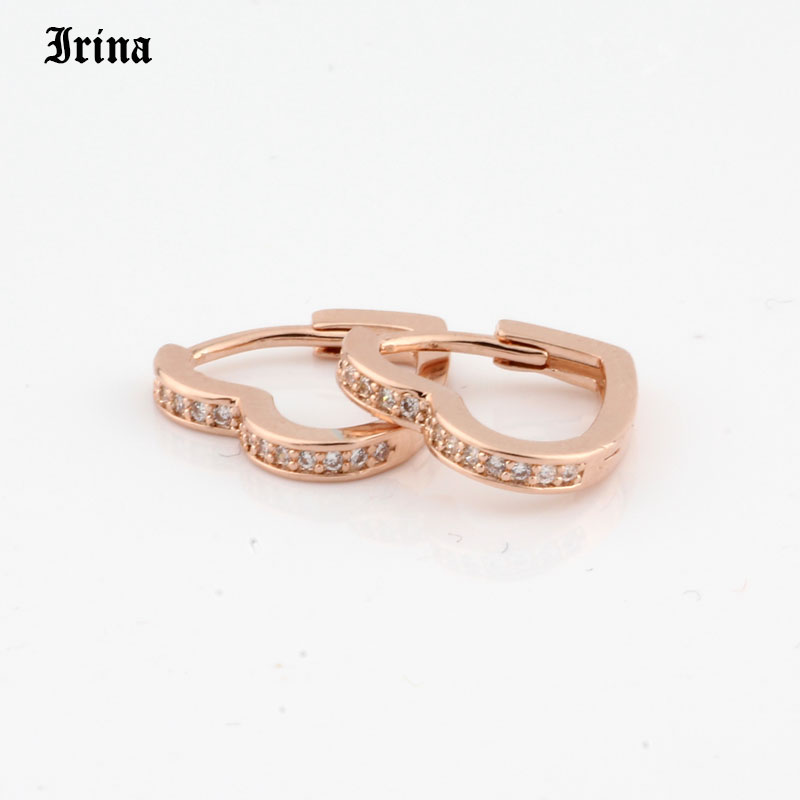Hoop Earrings Small Heart-shaped earring 585 rose gold color with exquisite zircon fashion earrings Jewelry Wedding accessories 2