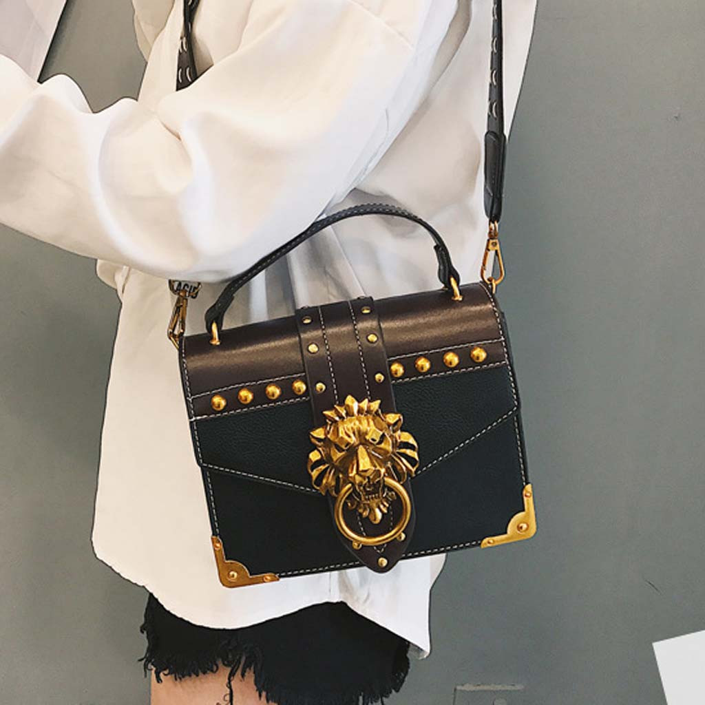 H29d84a7fbd994be3ae610cf66752e9ccU - Handbags Women Bags  Golden Lion Tote Bag With Zipper Fashion Metal Head Shoulder Bag Mini Square Crossbody Bag G3