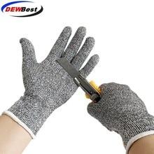 Анти устойчивые к порезам перчатки горячая Распродажа dewbest серый черный HPPE EN388 анти-порез, уровень 5 рабочие перчатки устойчивые к порезам перчатки
