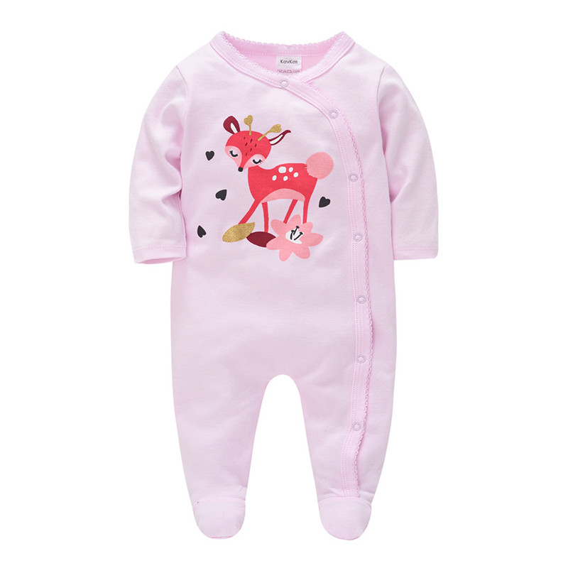 SAILEROAD 2020 New Baby Girls Cute Deer Pajamas 0-12M Baby Onesies Newborn Footed Pijama Infantil Infant Cotton Jumpsuit Clothes