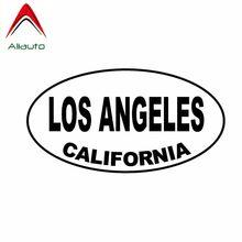 Aliauto-calcomanía del coche de personalidad, vinilo Oval de Los Ángeles, California, protector solar impermeable, Anti-UV, negra/plateada, 13cm * 7cm