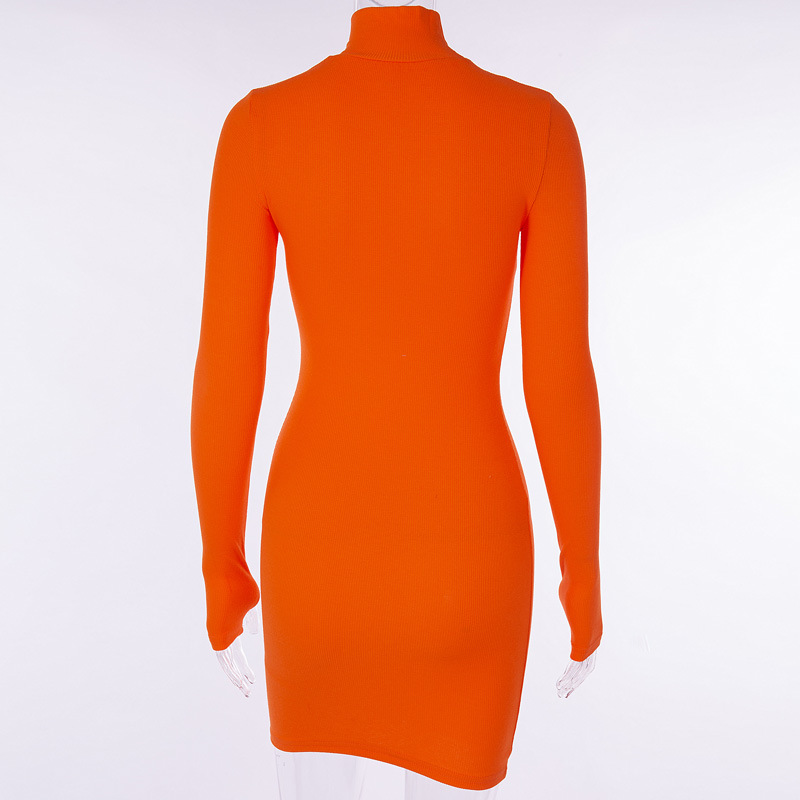 Cryptographic Ribbed turtleneck long sleeve winter dress women 19 fashion vestidos trend color slim sexy bodycon dresses 6