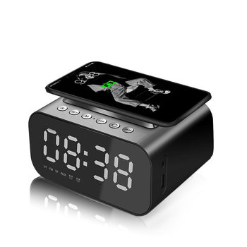 Fast Wireless Charger Phone Wireless Charging Pad Thermometer LED Alarm Clock Bluetooth Speaker Fast Charger For Iphone Samsung 1