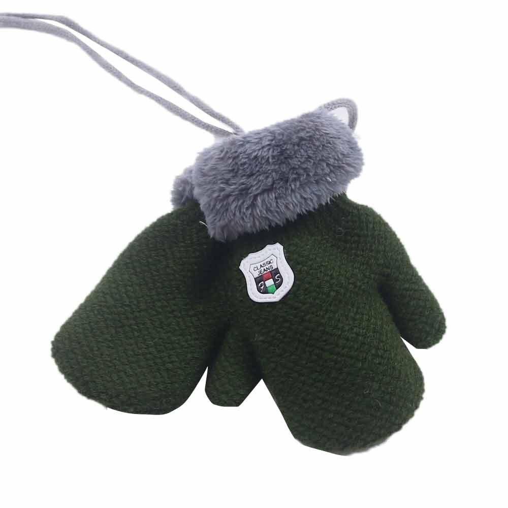 Милые кашемировые перчатки для мальчиков и девочек, зимние теплые тянущиеся вязаные варежки из толстого плюша с искусственным мехом, guantes luvas de inverno, новинка - Цвет: Green