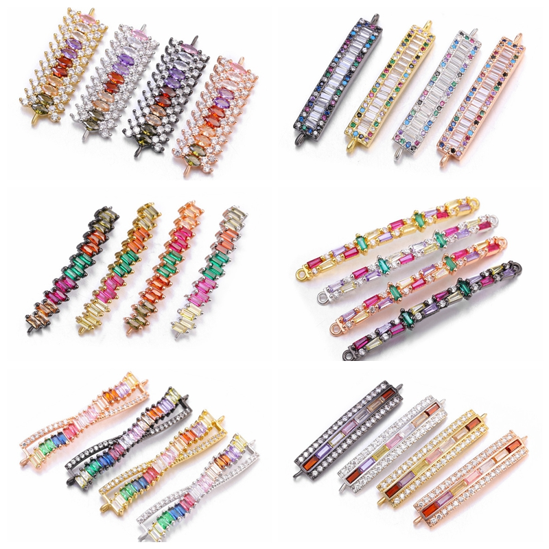 Jewelry Making Supplies Rainbow Color Crystal Long Bar Shape Charm Connectors For Handmade Jewelry DIY Craft