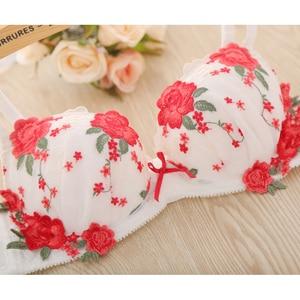 Image 2 - 2019 European sexy underwear embroidery flower mesh deep V on the girl lady bra set    2044