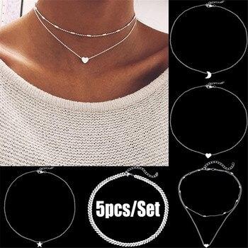 MLING Vintage or argent alliage collier ras du cou mode multi-couche lune étoile coeur pendentif collier pour les femmes