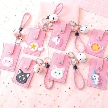 1 Pcs Cute Creative Credit Card Set Pink Girl ID Card 3 Card Slots Student Card Bus Card Lanyard Card Set with Key Chain