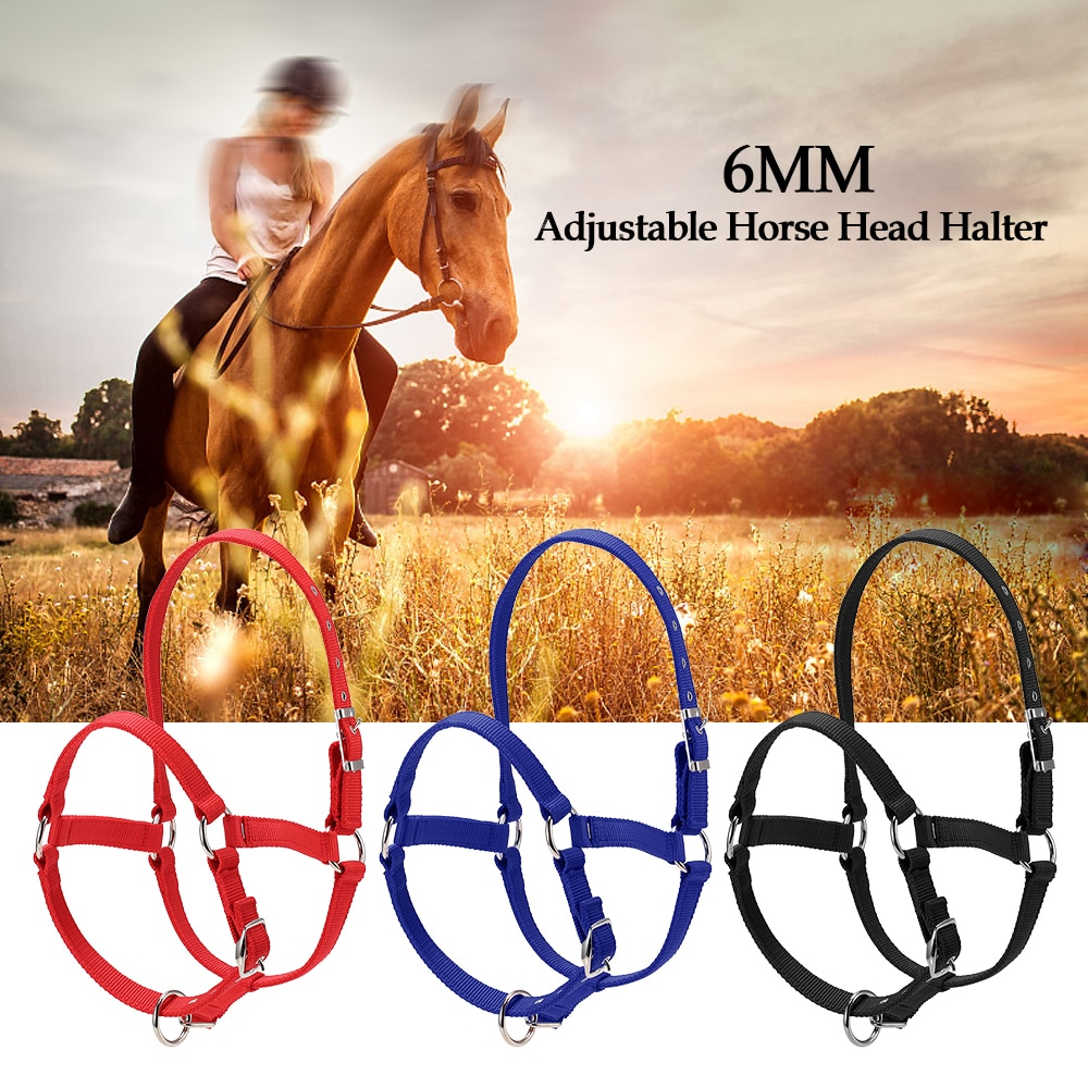 6MM Thickened Horse Head Collar Adjustable Safety Halter Bridle Headcollar Horse Riding Racing Equipment Training Rope 3 Colors