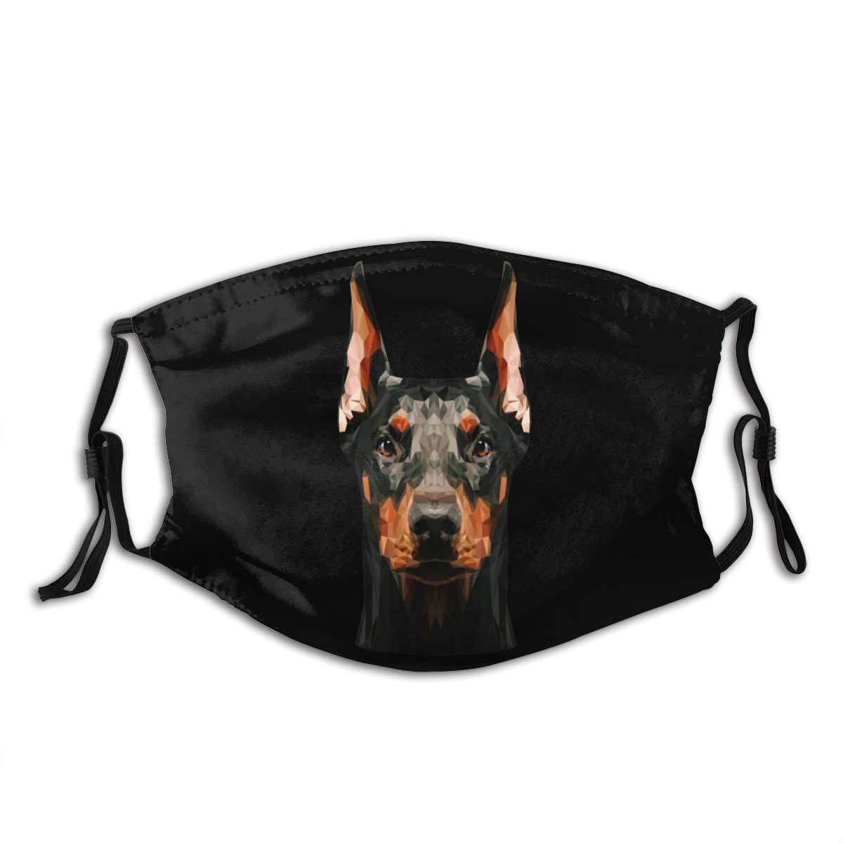 Doberman Mouth Face Mask Doberman Low Poly Facial Mask Cool Fashion With 2 Filters For Adult