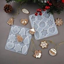 Boże narodzenie DIY żywica przezroczysta żywica epoksydowa formy Snowflake ełk brelok do kluczy z ozdobą stronę biżuteria silikonowy zestaw form do żywicy