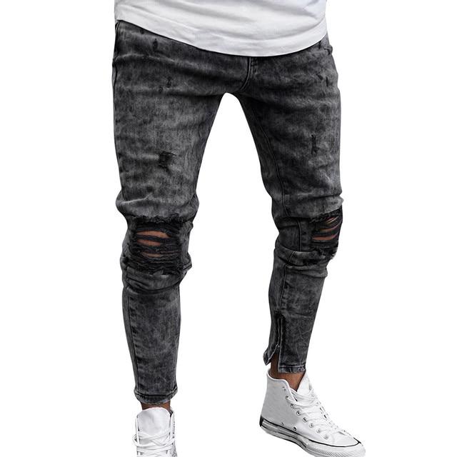 Fashion High Waist Jeans Jeans Men color: Gray
