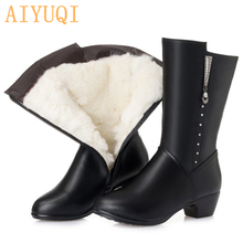 AIYUQI Womens  boots for winter 2019 new genuine leather womens dress boot wool woman big size 41 42 43 women Military