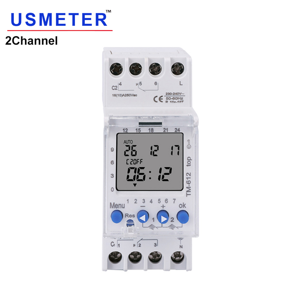 TM612 220 VAC 16A 6PINS 2NO 2NC 2 Channels Big LCD Display Programmable 24hrs Time Clock with Two Relay Outputs Timer Switch 2NO(China)