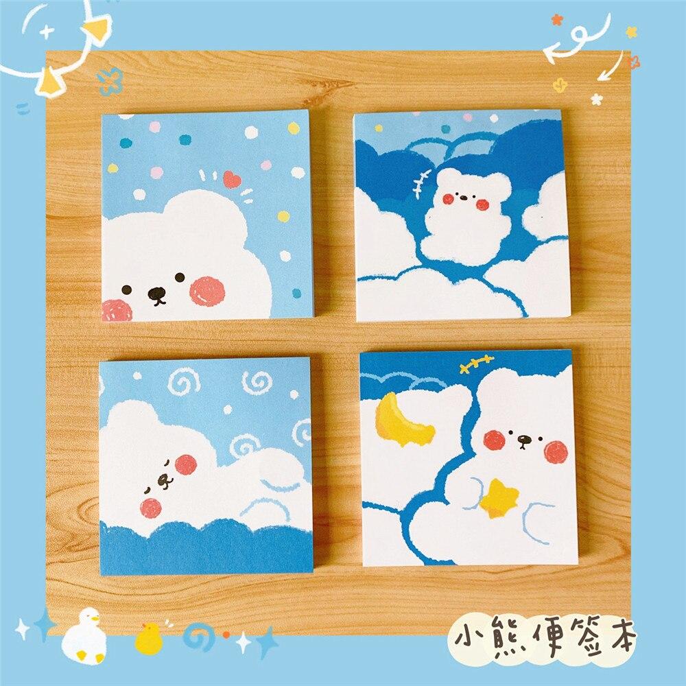 20 Pcs/set Cute Bear Notes Cloud Bear Notes Notepad Portable Memo Pad To Do List Kawaii Stationery Memo Sheeets Decorative Paper