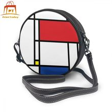 Pop Art Shoulder Bag Mondrian Minimalist De Stijl Modern Art Leather Bag Street Multi Pocket Women Bags Print Trend Round Purse