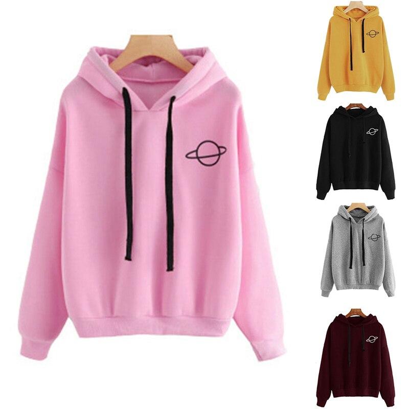 Hoodies Sweatshirt Women Solid Drawstring Print Sweatshirts Fashion Pullover Autumn Winter Female Tops Streetwear Sudadera Mujer