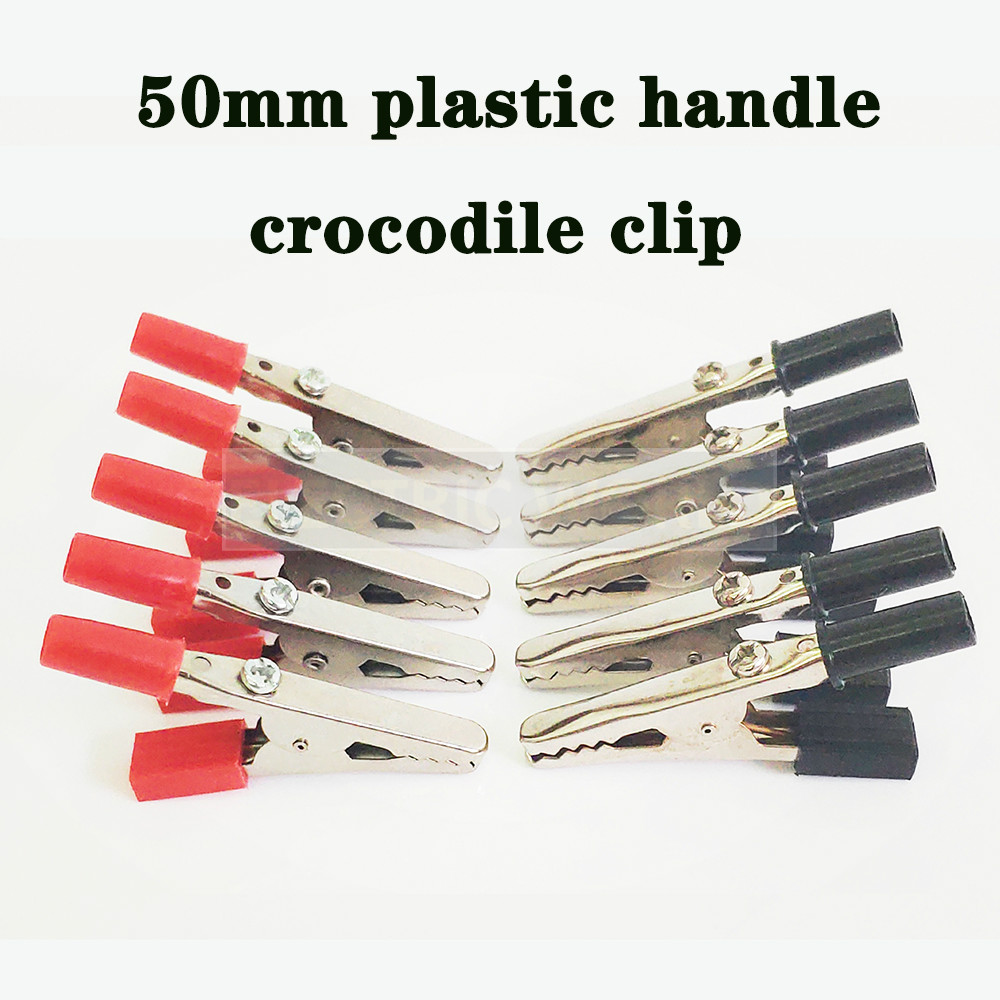 Crocodile clip 50mm 2-10pcs wire Connector Connect Socket Plug for Battery Plastic Handle Test Probe Metal Alligator Clips image