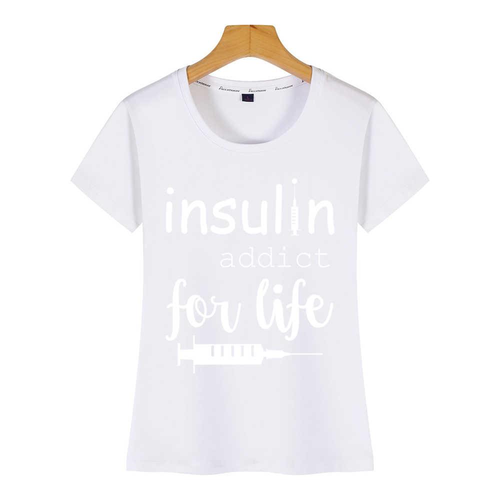 トップス tシャツ女性糖尿病おかしい t1d グラフィックかわいい碑文カスタム女性の tシャツ