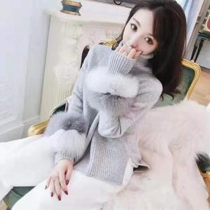 Image 5 - 女性の冬のタートルネックニットセーター Lrregular 裾ルースプルオーバー長袖フェイクミンクの毛皮のセータージャンパー