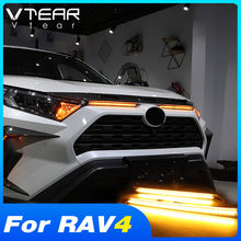 Vtear For Toyota RAV4 2019 2020 2021 Accessories LED Daytime Running Lights Car Engine Cover Decoration Light Turn Signal Lamp