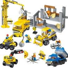 City Construction Engineering Vehicles Model Building Blocks Urban Engineer Figures Excavator Crane Truck Bricks Children Toys цены
