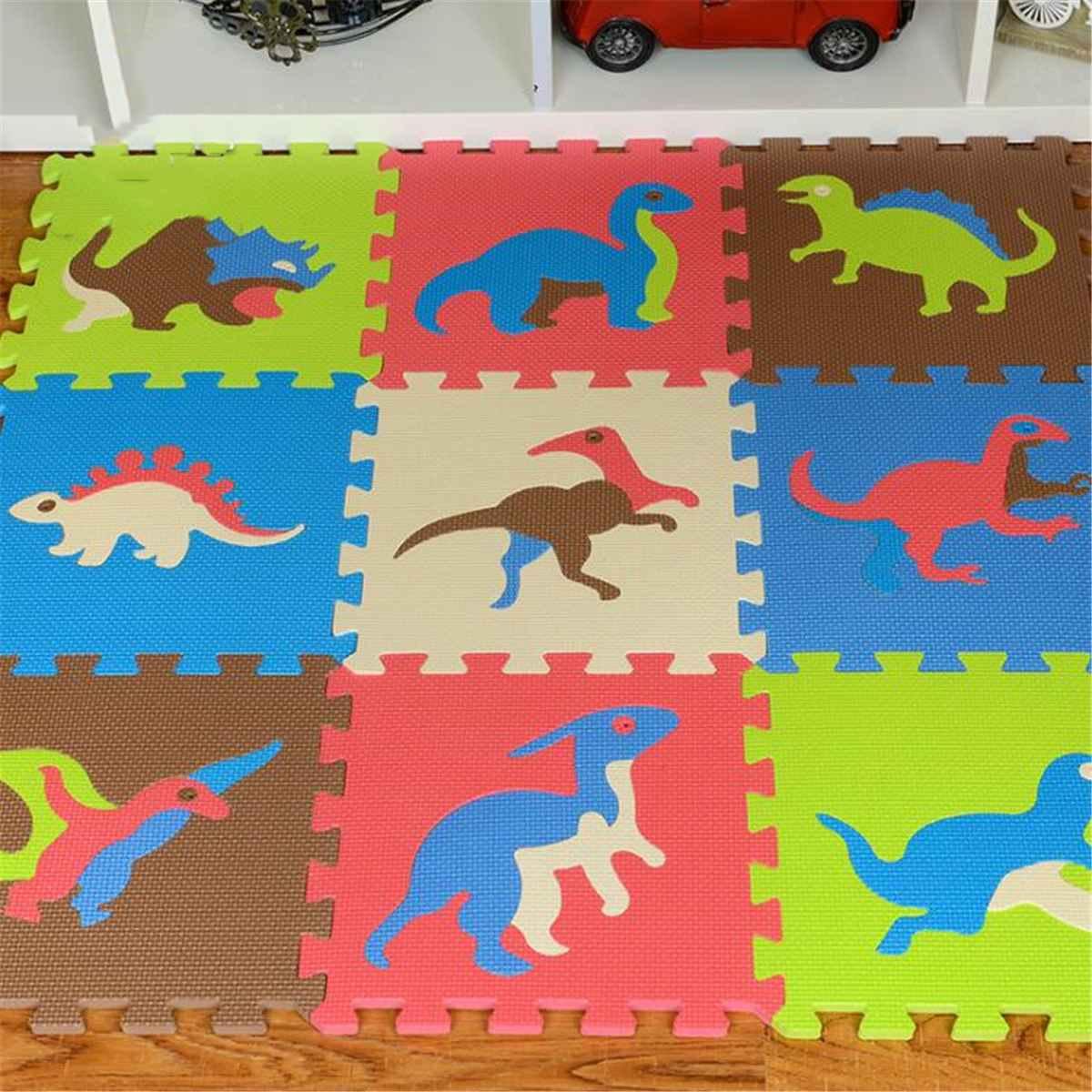 30x30cm Joint fendu EVA bébé tapis de jeu Animal mousse Puzzle enfants tapis intérieur doux Puzzle tapis pli Dino bébé tapis 9 pièces