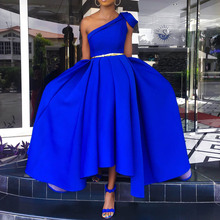 Blue Long Party Dress Evening Plus Size One-Shoulder African Sexy Sleeveless Pleated A Line Women Maxi Dress Femme Vestiods
