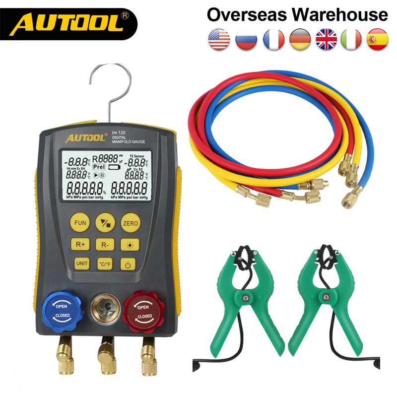 AUTOOL Air Conditioner Refrigerant Leak Manifold Kit HVAC Vacuum Pressure Temperature Tester Digital Manifold Gauge Meter
