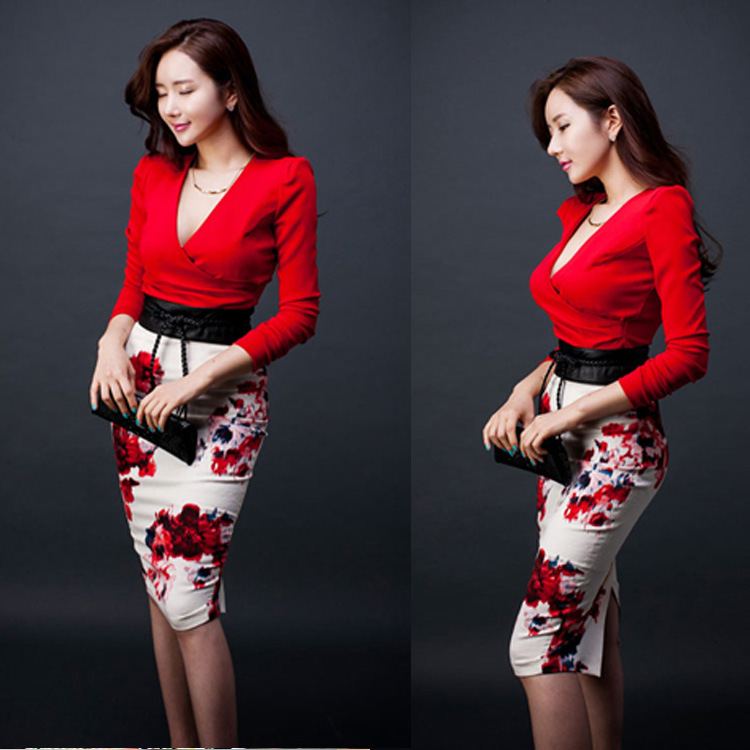 2019 Autumn Clothing South Korea Elegant Ol Long Sleeve Debutante Wrapped Skirt Printed Sheath Set Red Formal Dress Two-Piece Se