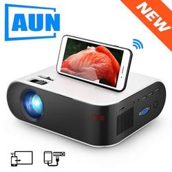 Aun Mini Projector W18C, 2800 Lumen, 854*480 P, Draadloze Sync Display Voor Telefoon, draagbare Home Cinema Voor Full Hd 1080P Beamer
