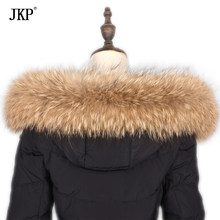 JKP 2019 Real Raccoon Fur Collar Women Warm Scarf Hat Accessory Winter New Fashion Collar Natural Fur Scarves High Quality(China)