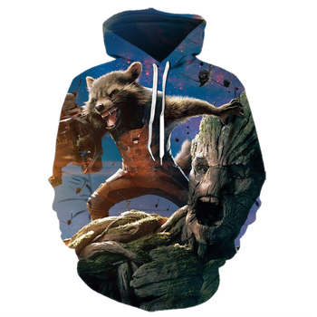 цена Cartoon Raccoon3D Guardians Of The Galaxy Hoodies Groot Rocket Wasbeer Hoodie Winter Lange Mouw Trui Mode Harajuku Streetwear онлайн в 2017 году