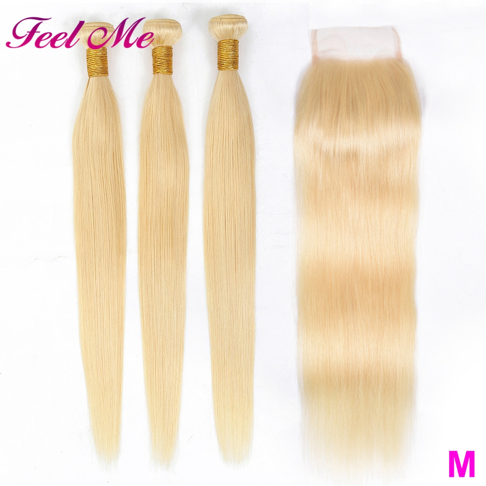 613 Blonde Bundles With Closure Malaysian Straight Hair Bundles With Closure M Remy Human Hair Weave Extenstions 10-26 Inch image