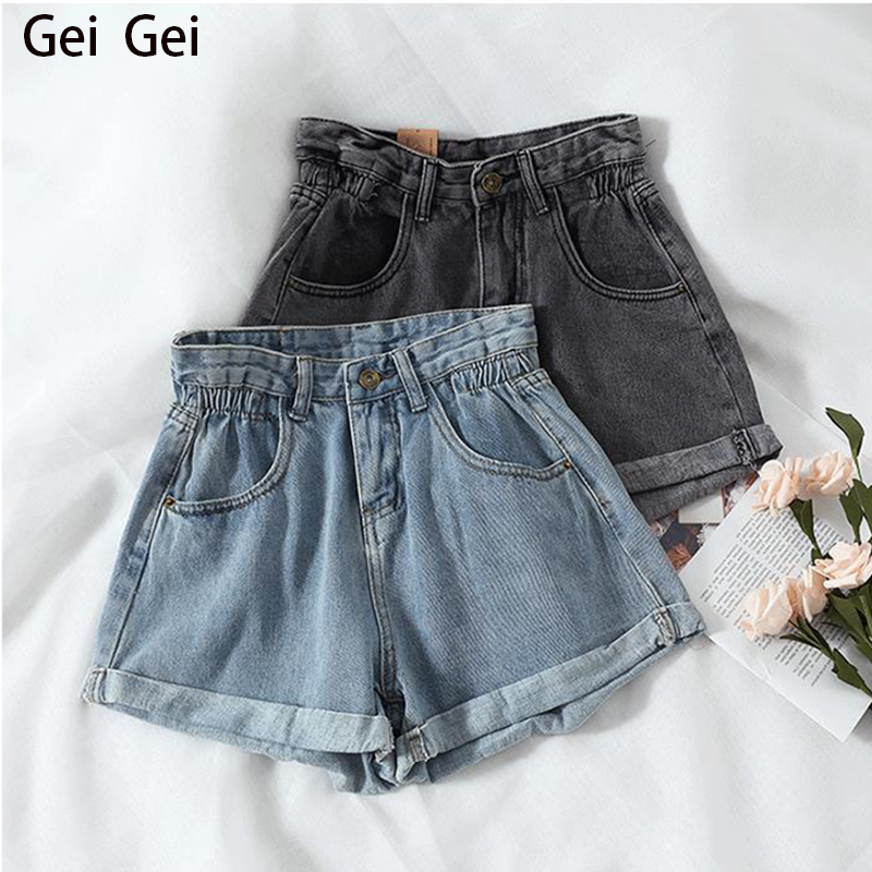 Women 2020 Jeans New Fashion Loose High Waist Stretch Mini Jeans Feminina Wide Leg Slim Black Blue Mom Jean Button Zipper Pants