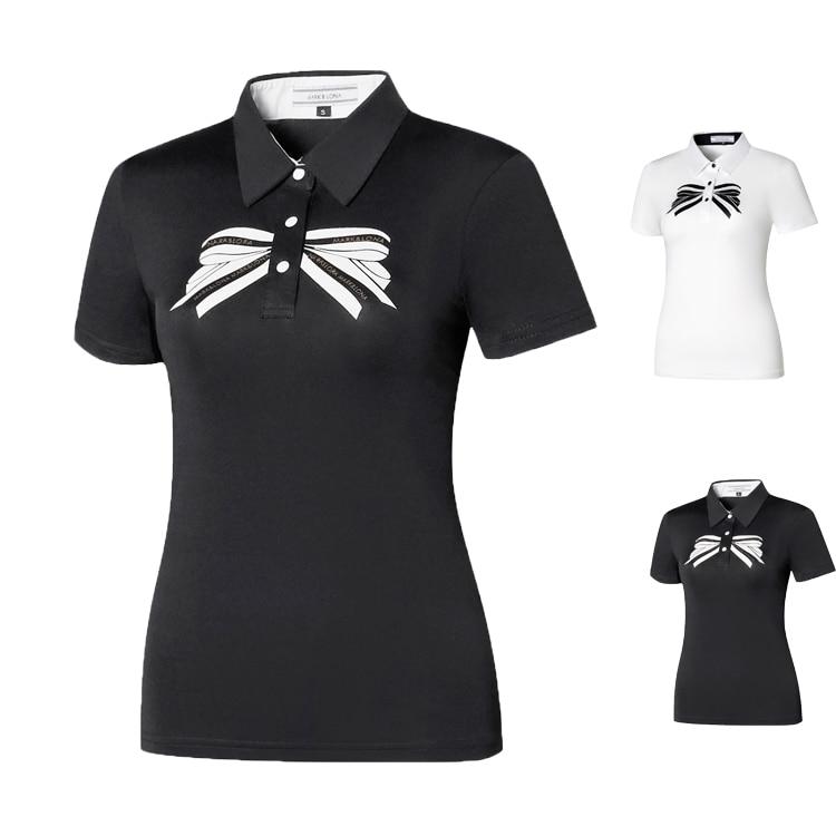 Feminina de Manga Camisa de Golfe de Secagem Rápida de Manga Camisa Curta Branco Preto Verão Respirável Esportes 2020
