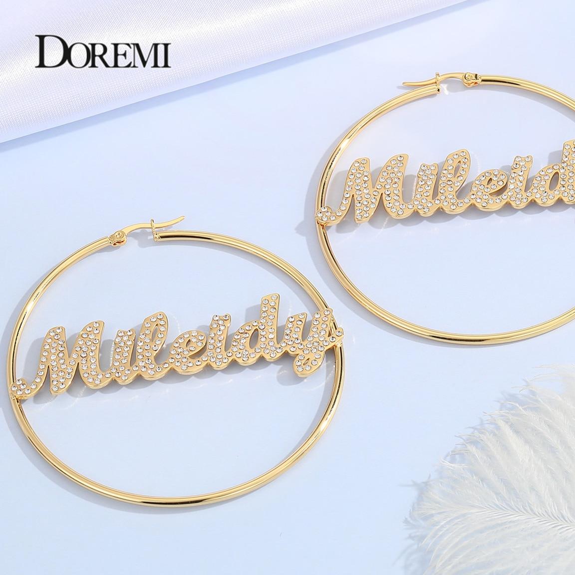 DOREMI Stainless Bling Name Bamboo Earrings Custom Hoop Bamboo Names Earrings Letter Big Personalised Name Earrings Women Gift