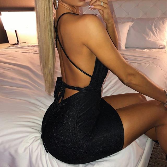 Sexy Backless Glitter Dress Women Deep V Bodycon Mini Dresses Summer Night Club Party dress