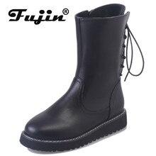Fujin Women Boots Back Strap Short Medium High Flat Bottomed Booties English Wind Autumn Winter Joker Velvet Warm