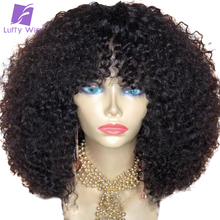 Curly Wigs Human-Hair Afro Kinky Luffywig Brazilian Short Bangs Black Women with Remy