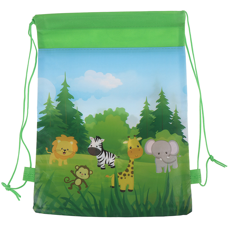 1PCS 34X27cm Candy Bags Green Animals Packing Non-woven Backpack Travel Drawstring Bag Backpack
