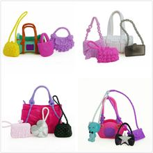 4 Pcs Cute Bags Colorful Shoulder Handbag Doll Accessories For Barbie Doll Baby Girl Kids Toy