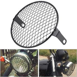 7inch Motorcycle Headlight Mesh Grill Mask Protector Guards Square Metal Fog Light Cover Motor Accessories Cafe Racer For -Honda