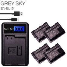 4 Stuks 1900 Mah EN-EL15 EL15 EN-EL15a ENEL15a En EL15a Batterij + Usb Oplader Voor Nikon D850 D810 D810A D750 d500 D7500 D7200 D7100