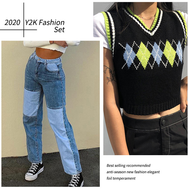 Sweetown Autumn Fashion Patchwork Jeans Pants Women 90s Streetwear Cargo Pants High Waisted Girl S Denim Straight Trousers Best Sale 49b4b0 Cicig