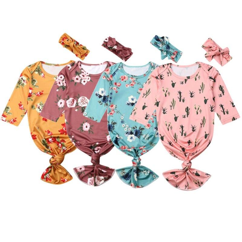 Newborn Baby Girl Swaddle Blanket Sleeping Bag Swaddle Muslin Wrap+Headband Set