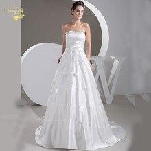 Простой без бретелек атласная свадебные платья ленты кружево-вверх назад плюс размер Белый свадебные платья vestido де Сексуальная